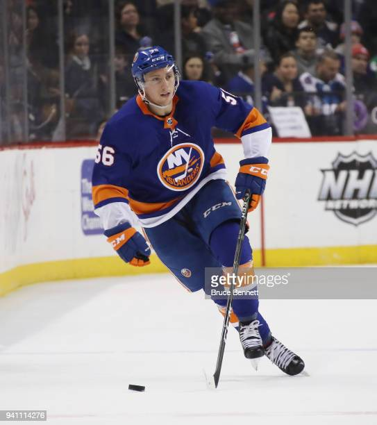 Tanner Fritz of the New York Islanders skates against the Toronto Maple Leafs at the Barclays Center on March 30 2018 in the Brooklyn borough of New...