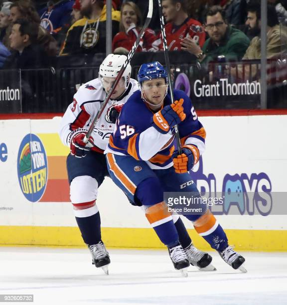Tanner Fritz of the New York Islanders skates against the Washington Capitals at the Barclays Center on March 15 2018 in the Brooklyn borough of New...