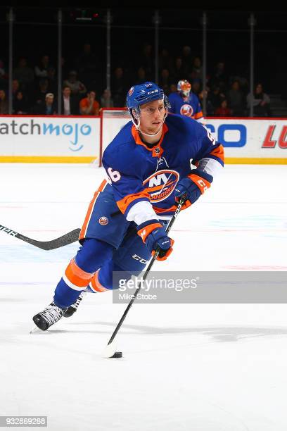 Tanner Fritz of the New York Islanders skates against the Washington Capitals at Barclays Center on March 15 2018 in New York City Washington...