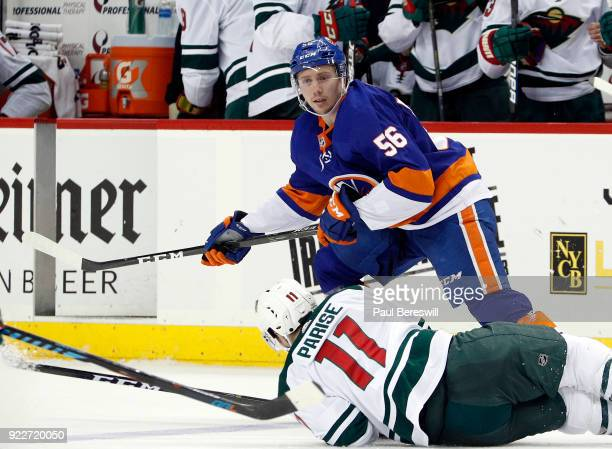 Tanner Fritz of the New York Islanders skates in an NHL hockey game against the Minnesota Wild at Barclays Center on February 19 2018 in the Brooklyn...