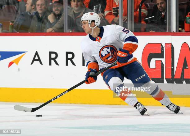 Tanner Fritz of the New York Islanders skates the puck against the Philadelphia Flyers on January 4 2018 at the Wells Fargo Center in Philadelphia...