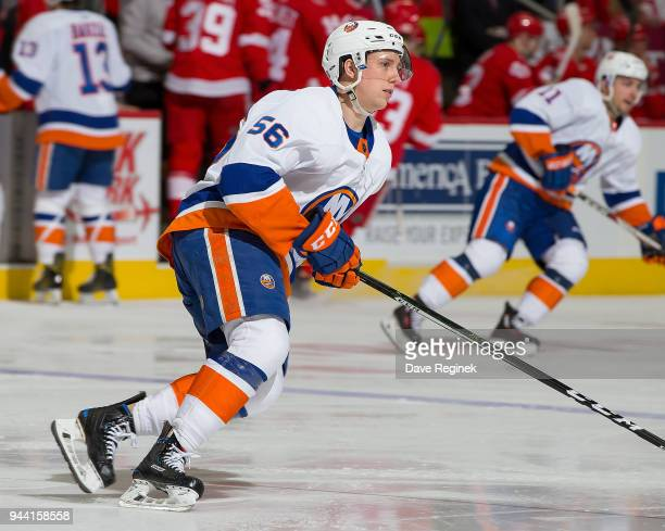 Tanner Fritz of the New York Islanders turns up ice against the Detroit Red Wings during an NHL game at Little Caesars Arena on April 7 2018 in...
