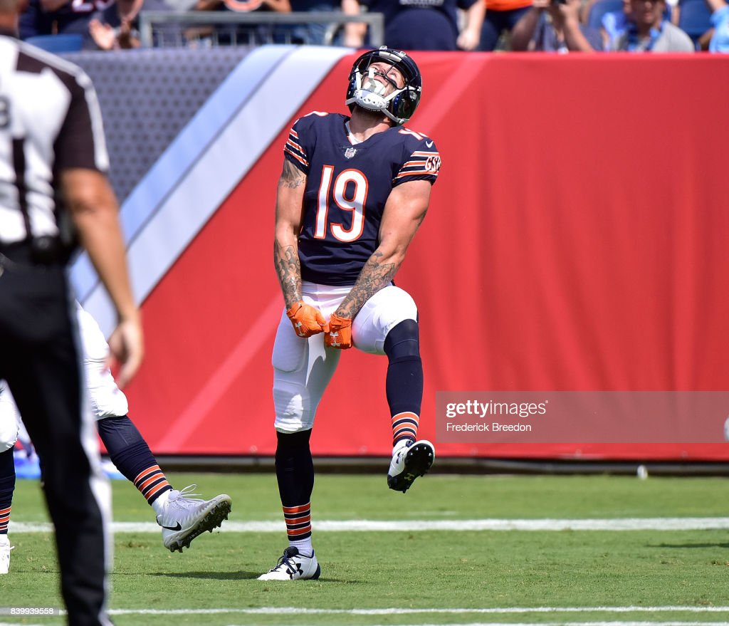Tanner Gentry #19 of the Chicago Bears celebrates after scoring a touchdown against the Tennessee Titans during the second half at Nissan Stadium on August 27, 2017 in Nashville, Tennessee.