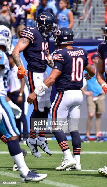 Tanner Gentry of the Chicago Bears is congratulated by teammate Mitchell Trubisky after scoring a touchdown against the Tennessee Titans during the...