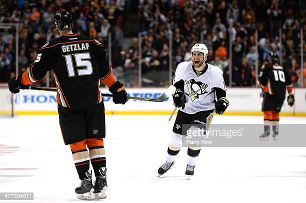 Tanner Glass of the Pittsburgh Penguins reacts after a Ryan Getzlaf of the Anaheim Ducks miss resulting in a 3-2 win in overtime shootout at Honda...