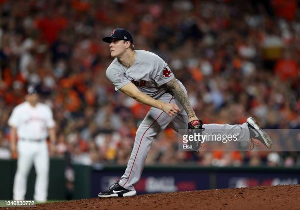Tanner Houck of the Boston Red Sox pitches against the Houston Astros in the sixth inning during Game One of the American League Championship Series...
