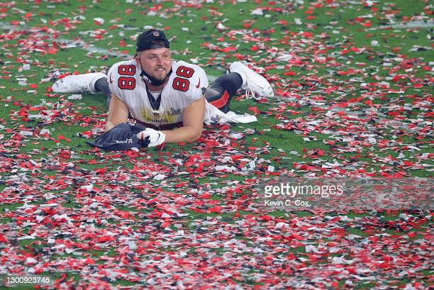 Tanner Hudson of the Tampa Bay Buccaneers reacts as confetti falls after defeating the Kansas City Chiefs in Super Bowl LV at Raymond James Stadium...