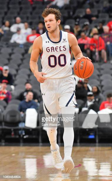 Tanner Krebs of the Saint Mary's Gaels dribbles against the LSU Tigers during their game at TMobile Arena on December 15 2018 in Las Vegas Nevada