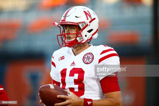 Tanner Lee of the Nebraska Cornhuskers is seen before the game against the Illinois Fighting Illini at Memorial Stadium on September 29 2017 in...