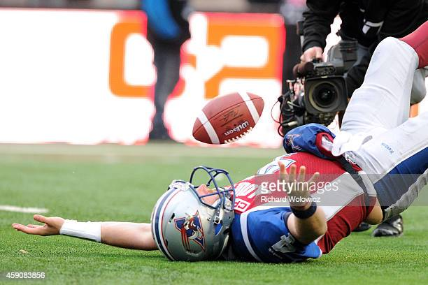 Tanner Marsh of the Montreal Alouettes celebrates his touchdown during the CFL Eastern Division SemiFinal game against the BC Lions at Percival...
