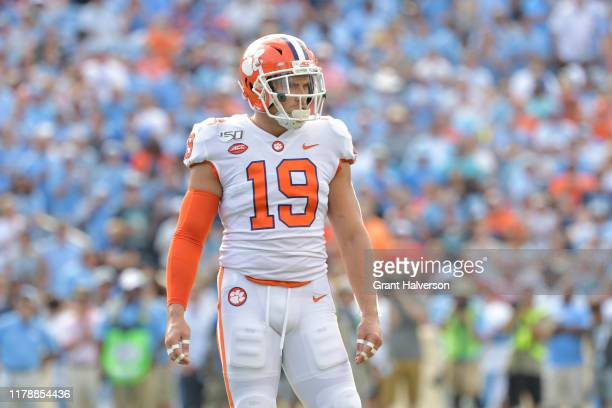 Tanner Muse of the Clemson Tigers against the North Carolina Tar Heels during their game at Kenan Stadium on September 28 2019 in Chapel Hill North...