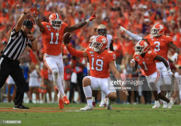 Tanner Muse of the Clemson Tigers reacts after a turnover by the Florida State Seminoles during their game at Memorial Stadium on October 12 2019 in...