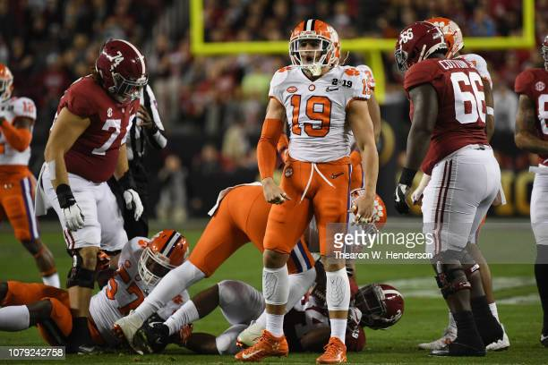 Tanner Muse of the Clemson Tigers reacts against the Alabama Crimson Tide during the first quarter in the CFP National Championship presented by ATT...
