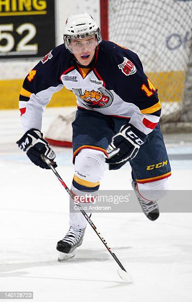 Tanner Pearson of the Barrie Colts skates in a game against the Peterborough Petes on February 23 2012 at the Peterborough Memorial Centre in...
