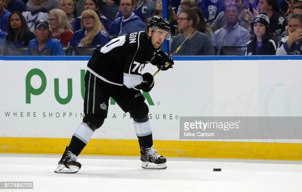 Tanner Pearson of the Los Angeles Kings brings the puck up against the Tampa Bay Lightning at the Amalie Arena on February 10 2018 in Tampa Florida