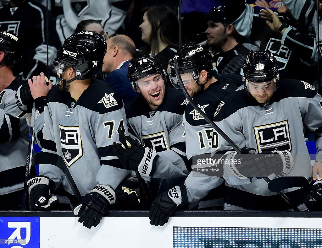 Tanner Pearson #70 of the Los Angeles Kings celebrates his goal on the bench to take the lead during the overtime shootout period against the Vancouver Canucks at Staples Center on October 22, 2016 in Los Angeles, California. The Kings would go on to win 4-3.