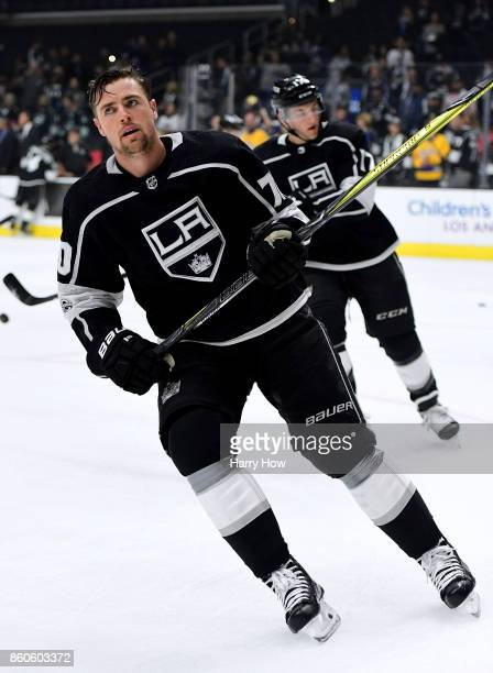 Tanner Pearson of the Los Angeles Kings during warm up before the game against the Calgary Flames at Staples Center on October 11 2017 in Los Angeles...