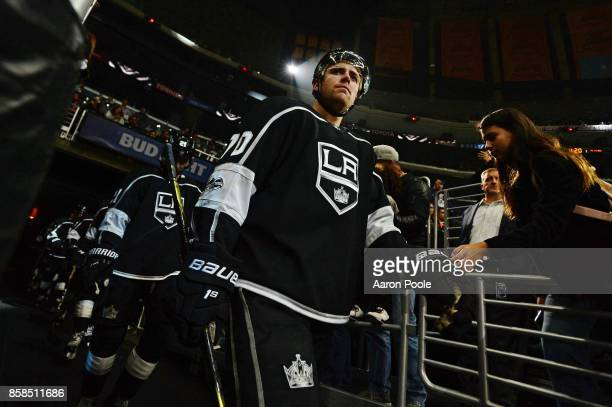 Tanner Pearson of the Los Angeles Kings enters the arena during a game against the Philadelphia Flyers at STAPLES Center on October 05 2017 in Los...