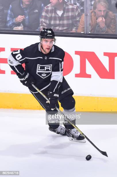Tanner Pearson of the Los Angeles Kings handles the puck during a game against the Montreal Canadiens at STAPLES Center on October 18 2017 in Los...