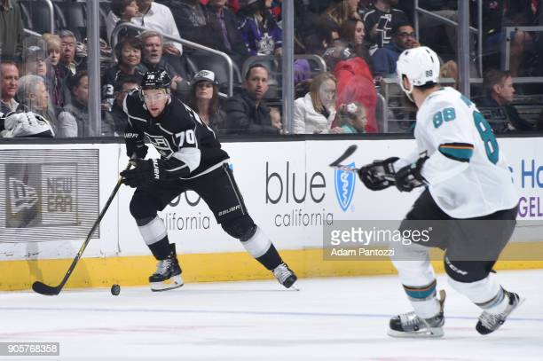 Tanner Pearson of the Los Angeles Kings handles the puck during a game against the San Jose Sharks at STAPLES Center on January 15 2018 in Los...