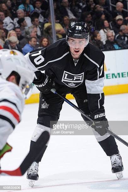 Tanner Pearson of the Los Angeles Kings looks on during a game against the Chicago Blackhawks at STAPLES Center on November 29 2014 in Los Angeles...
