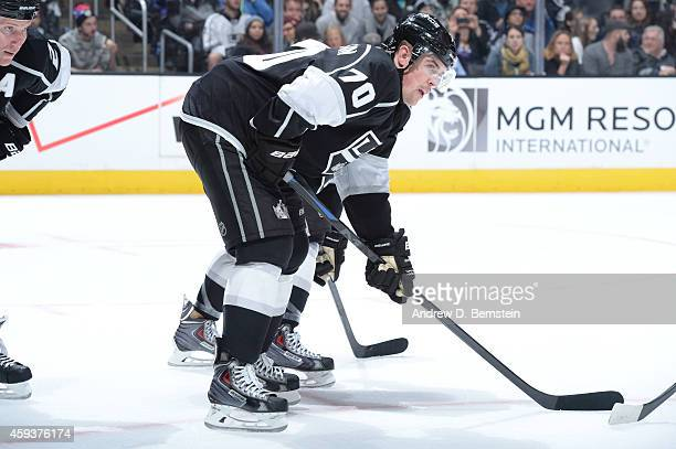 Tanner Pearson of the Los Angeles Kings prepares for a faceoff during a game against the Carolina Hurricanes at STAPLES Center on November 20 2014 in...
