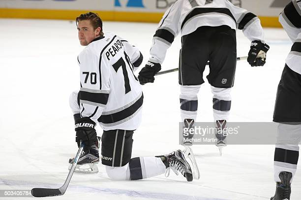 Tanner Pearson of the Los Angeles Kings rests during warmups prior to the game against the Colorado Avalanche at the Pepsi Center on January 4 2016...