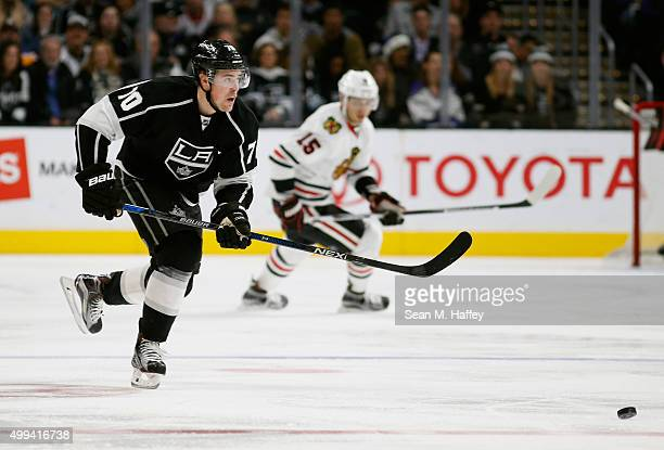 Tanner Pearson of the Los Angeles Kings skates during the game against the Chicago Blackhawks at Staples Center on November 28 2015 in Los Angeles...
