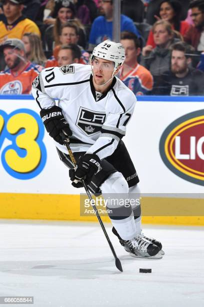 Tanner Pearson of the Los Angeles Kings skates during the game against the Edmonton Oilers on March 20 2017 at Rogers Place in Edmonton Alberta Canada