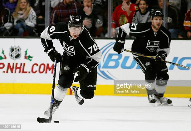 Tanner Pearson of the Los Angeles Kings skates with the puck during a game against the Chicago Blackhawks at Staples Center on November 28 2015 in...