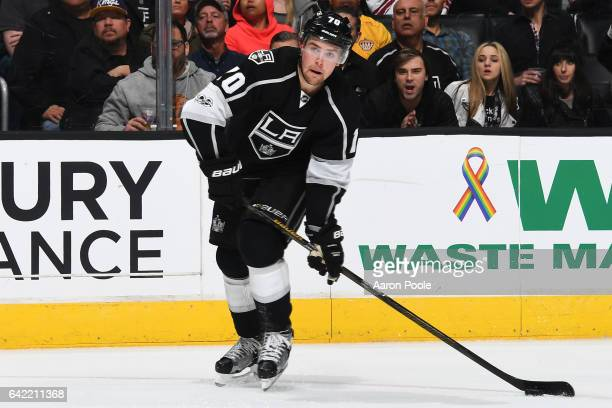 Tanner Pearson of the Los Angeles Kings skates with the puck during the game against the Arizona Coyotes on February 16 2017 at Staples Center in Los...