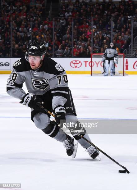 Tanner Pearson of the Los Angeles Kings skates with the puck during the game against the Chicago Blackhawks on April 8 2017 at Staples Center in Los...