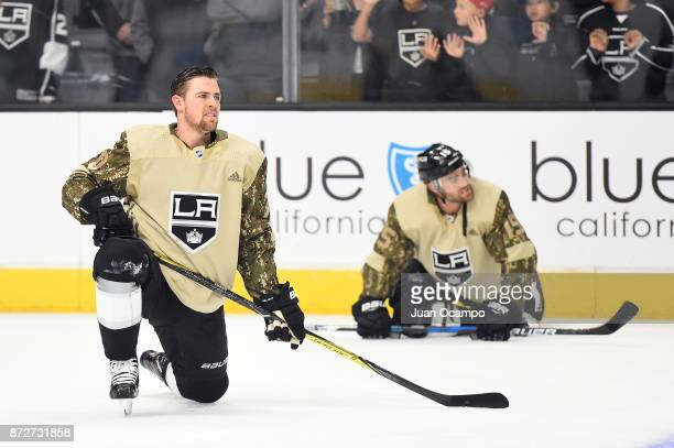 Tanner Pearson of the Los Angeles Kings sports a camouflage warmup jersey to commemorate Veterans Day before a game against the Tampa Bay Lightning...