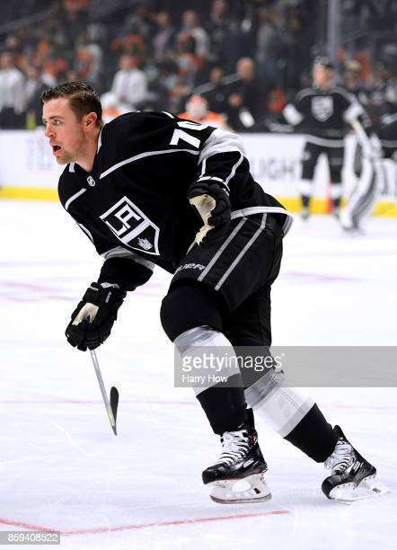 Tanner Pearson of the Los Angeles Kings warms up before opening night of the Los Angeles Kings 20172018 season against the Philadelphia Flyers at...