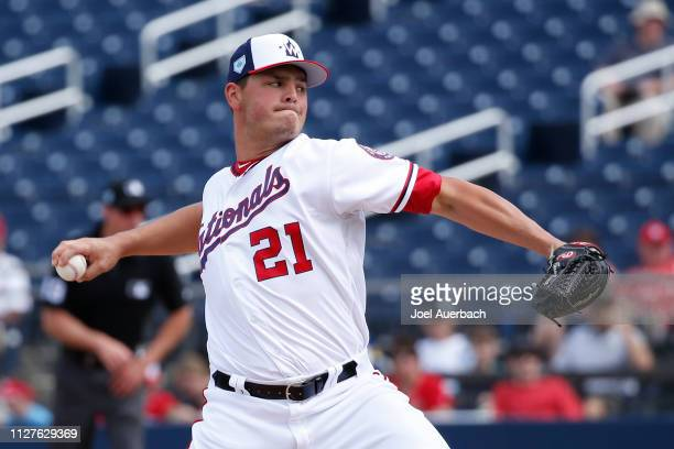 Tanner Rainey of the Washington Nationals pitches against the St Louis Cardinals during a spring training game at The Fitteam Ballpark of the Palm...
