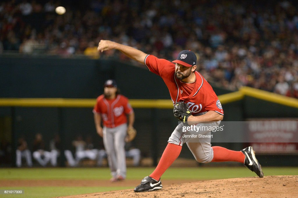 Tanner Roark #57 of the Washington Nationals delivers a pitch in the first inning of the MLB game against the Arizona Diamondbacks at Chase Field on July 22, 2017 in Phoenix, Arizona.