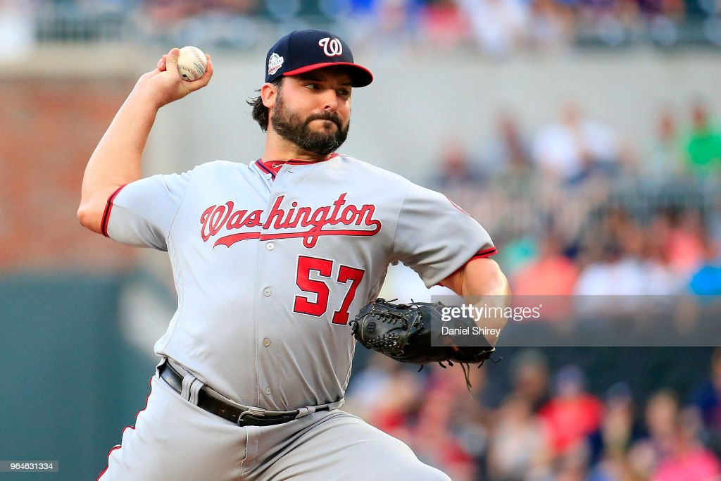 Tanner Roark #57 of the Washington Nationals pitches during the first inning against the Atlanta Braves at SunTrust Park on May 31, 2018 in Atlanta, Georgia.