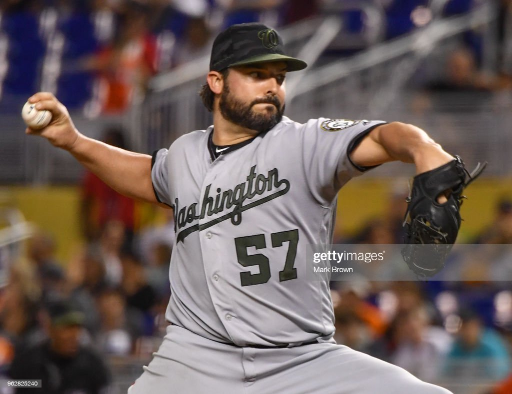 Tanner Roark #57 of the Washington Nationals pitches during the sixth inning against the Miami Marlins at Marlins Park on May 26, 2018 in Miami, Florida.