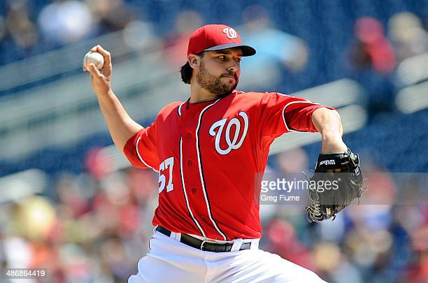 Tanner Roark of the Washington Nationals pitches in the first inning against the San Diego Padres at Nationals Park on April 26 2014 in Washington DC