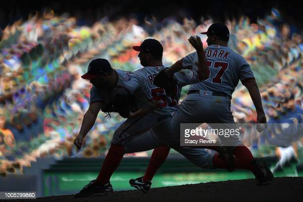 Tanner Roark of the Washington Nationals throws a pitch during the seventh inning of a game against the Milwaukee Brewers at Miller Park on July 25...