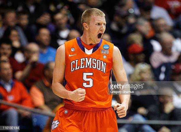 Tanner Smith of the Clemson Tigers reacts after a play in the first half against the UAB Blazers during the first round of the 2011 NCAA men's...