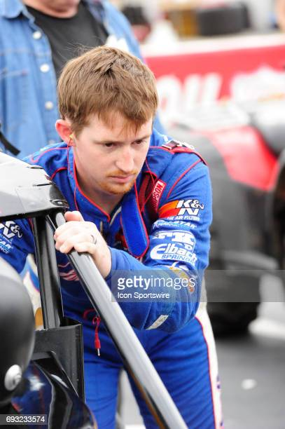 Tanner Swanson Bowman Canine Racing driver prepares for the Carb Night Classic United States Auto Club Silver Crown Champ Car Series 100lap feature...