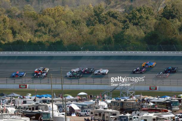 Tanner Thorson driver of the K L Ready Mix Chevrolet Brett Moffitt driver of the Toyota Justin Haley driver of the Fraternal Order of Eagles...