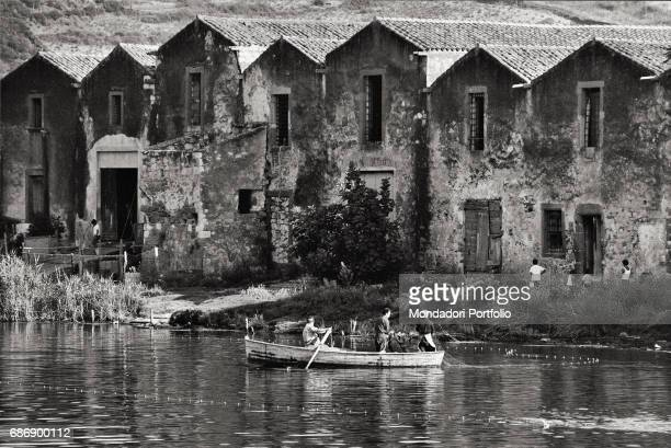 Tanneries on the shores of Teno river This picture is taken from the monography 'Mario De Biasi Il mio sogno Š qui' curated by Enrica Vigan•...