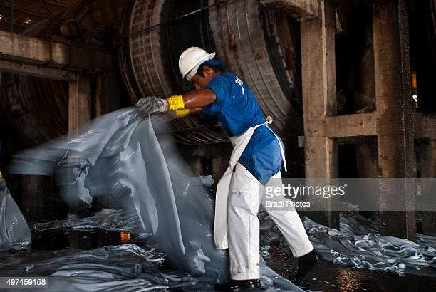 Tannery in Amazon Brazil wet blue process of treating skins of animals to produce leather which is more durable and less susceptible to decomposition...