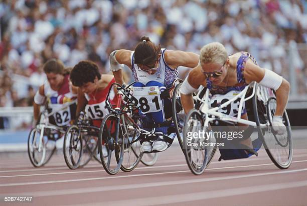 Tanni Grey of Great Britain during the 100 m TW3 on 12 September 1992 during the IX Paralympic Summer Games in Barcelona Spain