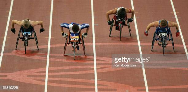 Tanni Grey-Thompson of Great Britain wins the Womens 100m T-53 Final on September 23 during the Athens 2004 Paralympic Games at the Olympic Stadium...
