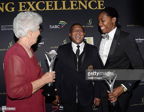 Tannie Anna Botha Fikile Mbalula and Caster Semenya during the SA Sports Awards on November 27 2016 in Bloemfontein South Africa The 2016 SA Sport...