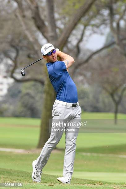 Tano Goya of Argentina hits a tee shot on the fifth hole prior to the PGA TOUR Latinoamerica Diners Club Peru Open presentado por Lexus at Los Inkas...
