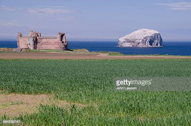 Tantallon Castle is a semi-ruined mid-14th-century fortress, located 5 kilometres east of North Berwick, in East Lothian, Scotland.